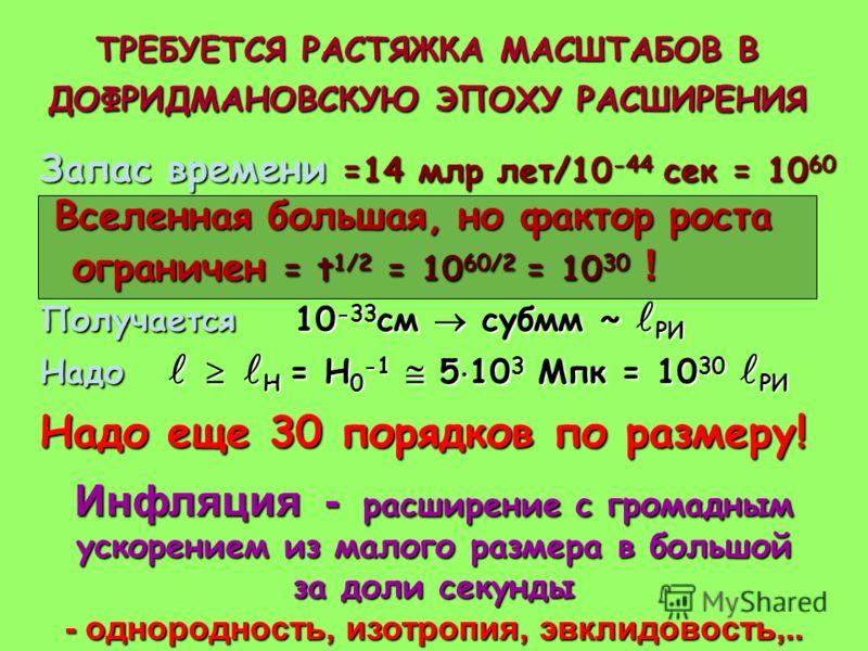 Запас времени =14 млр лет/10 -44 сек = 10 60 Вселенная большая, но фактор роста ограничен = t 1/2 = 10 60/2 = 10 30 ! Вселенная большая, но фактор роста ограничен = t 1/2 = 10 60/2 = 10 30 ! Получается 10 -33 см субмм ~ РИ Надо Н = H 0 -1 5 10 3 Мпк