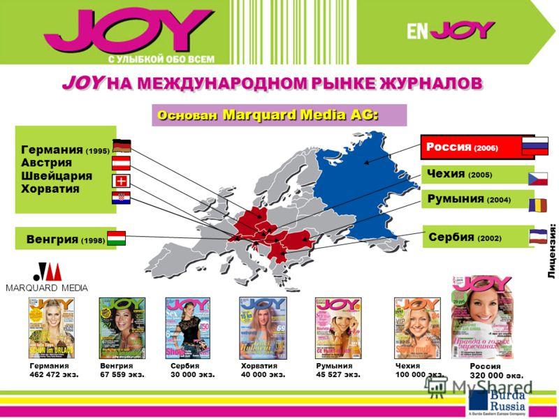 Германия (1995) Австрия Швейцария Хорватия Венгрия (1998) MARQUARD MEDIA Лицензия: Германия 462 472 экз. Венгрия 67 559 экз.. Сербия 30 000 экз. Чехия 100 000 экз. Основан Marquard Media AG: Румыния 45 527 экз. Россия 320 000 экз. Сербия (2002) Румын