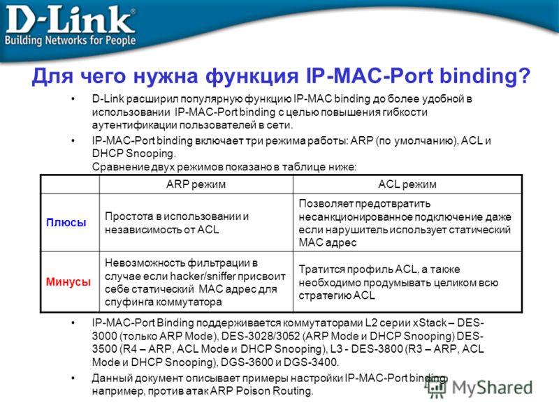 Для чего нужна функция IP-MAC-Port binding? D-Link расширил популярную функцию IP-MAC binding до более удобной в использовании IP-MAC-Port binding с целью повышения гибкости аутентификации пользователей в сети. IP-MAC-Port binding включает три режима
