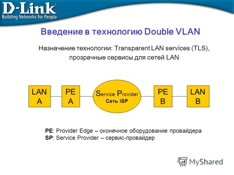 Назначение технологии: Transparent LAN services (TLS), прозрачные сервисы для сетей LAN LAN A LAN B PE A PE B S ervice P rovider Сеть ISP PE: Provider Edge – оконечное оборудование провайдера SP: Service Provider – сервис-провайдер Введение в техноло