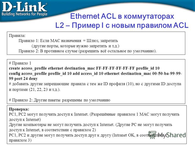 Ethernet ACL в коммутаторах L2 – Пример I с новым правилом ACL Правила: Правило 1: Если MAC назначения = Шлюз, запретить (другие порты, которые нужно запретить и т.д.) Правило 2: В противном случае (разрешить всё остальное по умолчанию). # Правило 1
