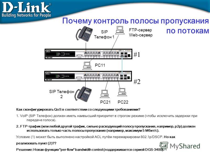 FTP-сервер Web-сервер SIP Телефон 1 Как сконфигурировать QoS в соответствии со следующими требованиями? 1. VoIP (SIP Телефон) должен иметь наивысший приоритет в строгом режиме (чтобы исключить задержки при передаче голоса). 2. FTP-трафик (или любой д