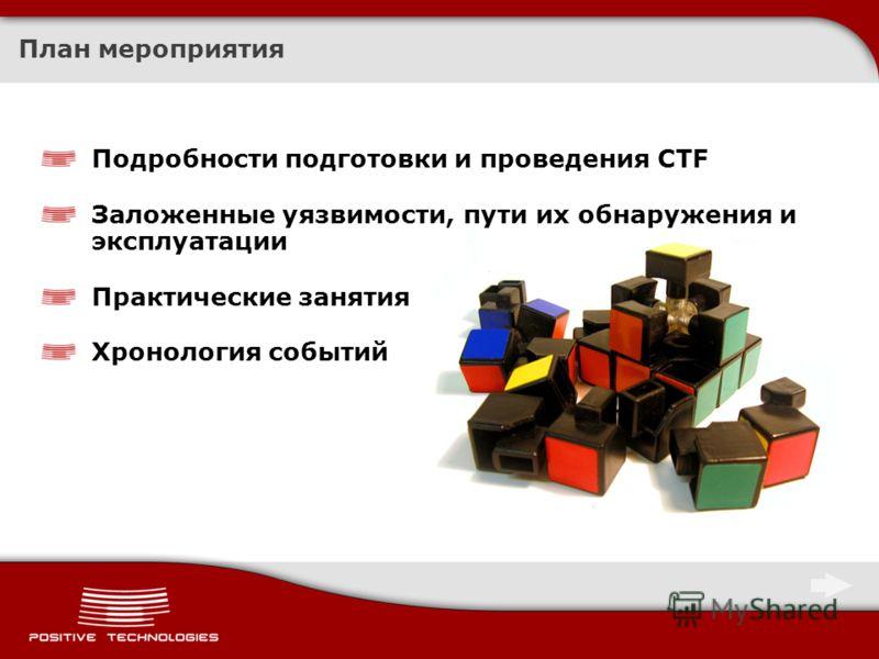 План мероприятия Подробности подготовки и проведения CTF Заложенные уязвимости, пути их обнаружения и эксплуатации Практические занятия Хронология событий