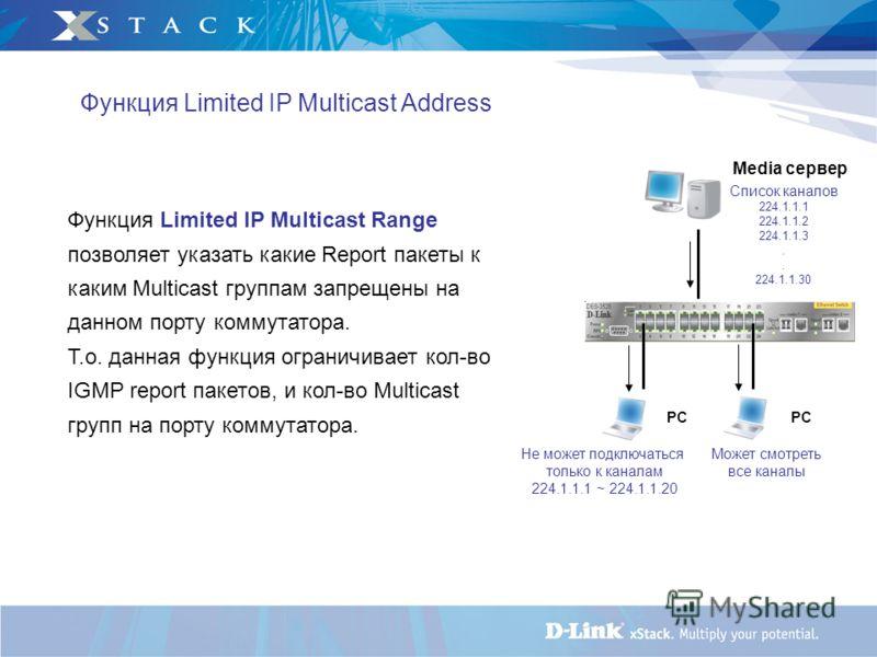 Функция Limited IP Multicast Address Функция Limited IP Multicast Range позволяет указать какие Report пакеты к каким Multicast группам запрещены на данном порту коммутатора. Т.о. данная функция ограничивает кол-во IGMP report пакетов, и кол-во Multi