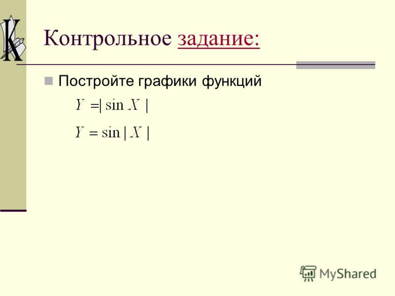 II. Графики функций вида y = f (|x|) Пример: Построим график функции