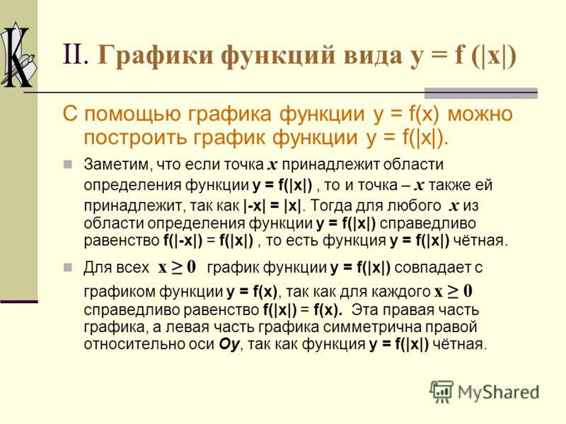 Графики функций вида y = |f(x)|. Построим график функции