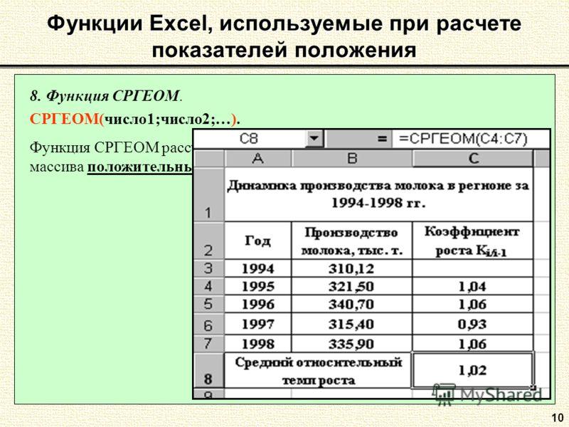 10 8. Функция СРГЕОМ. СРГЕОМ(число1;число2;…). Функция СРГЕОМ рассчитывает среднюю геометрическую значений массива положительных чисел. Функции Excel, используемые при расчете показателей положения