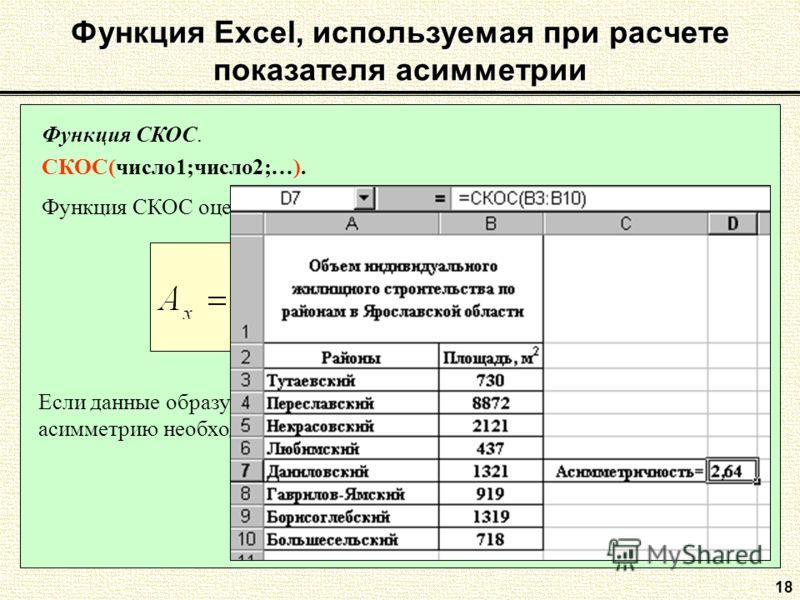18 Функция Excel, используемая при расчете показателя асимметрии Функция СКОС. СКОС(число1;число2;…). Функция СКОС оценивает коэффициент асимметрии по выборке. Если данные образуют не выборочную, а генеральную совокупность, то асимметрию необходимо р
