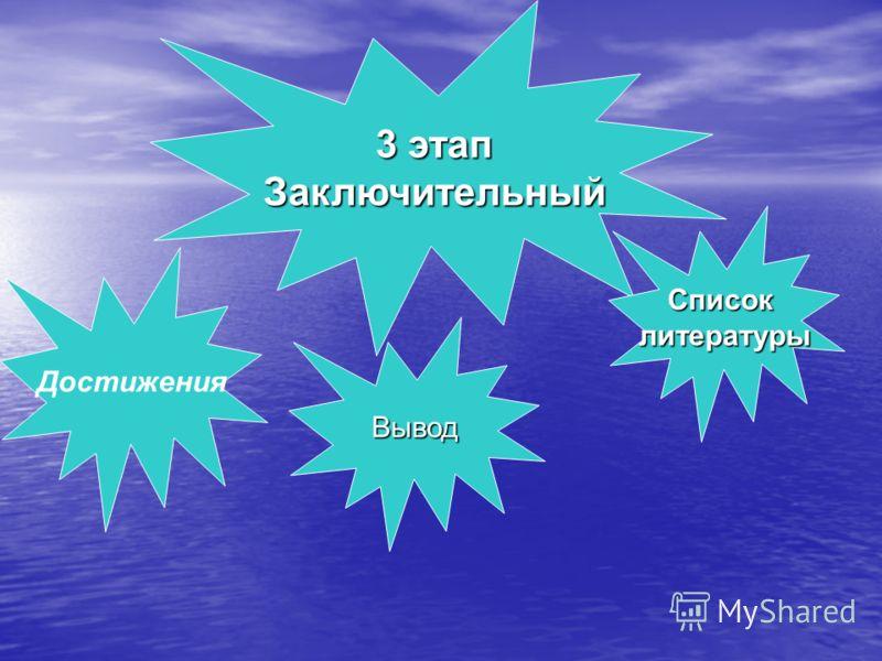 3 этап Заключительный Достижения Списоклитературы Вывод
