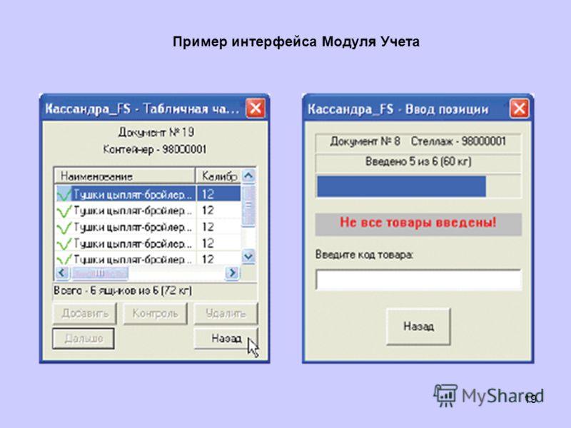 19 Пример интерфейса Модуля Учета