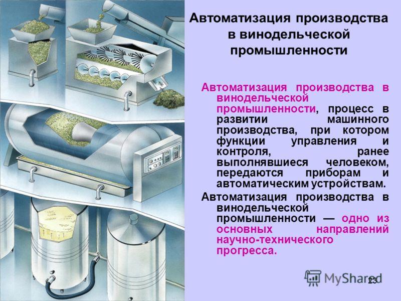 23 Автоматизация производства в винодельческой промышленности Автоматизация производства в винодельческой промышленности, процесс в развитии машинного производства, при котором функции управления и контроля, ранее выполнявшиеся человеком, передаются