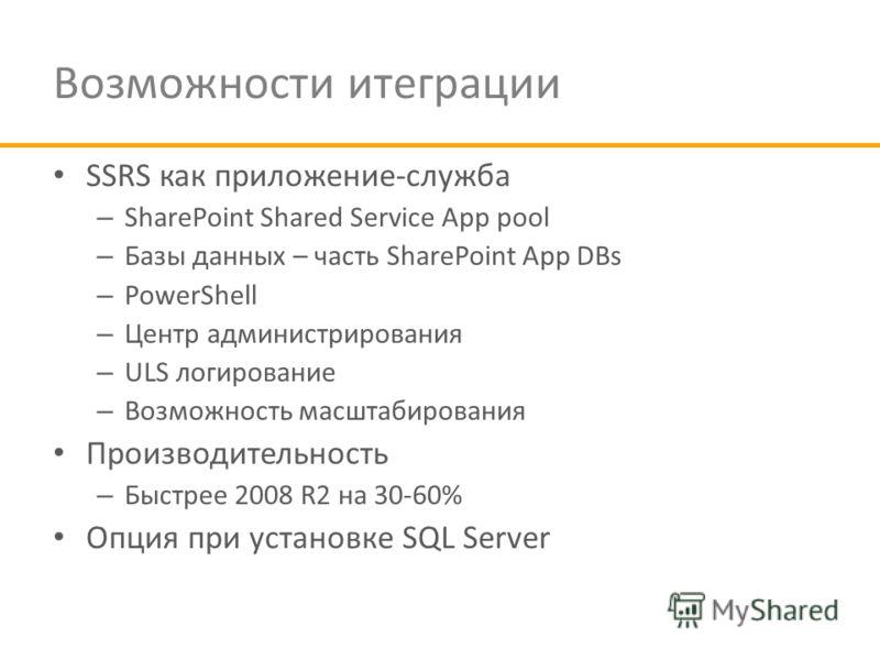 Возможности итеграции SSRS как приложение-служба – SharePoint Shared Service App pool – Базы данных – часть SharePoint App DBs – PowerShell – Центр администрирования – ULS логирование – Возможность масштабирования Производительность – Быстрее 2008 R2
