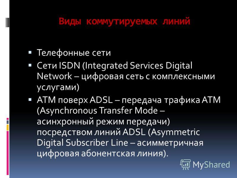 Виды коммутируемых линий Телефонные сети Сети ISDN (Integrated Services Digital Network – цифровая сеть с комплексными услугами) ATM поверх ADSL – передача трафика АТМ (Asynchronous Transfer Mode – асинхронный режим передачи) посредством линий ADSL (
