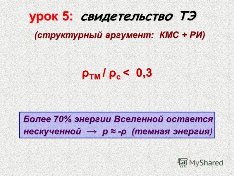 урок 5: свидетельство ТЭ (структурный аргумент: КМС + РИ) (структурный аргумент: КМС + РИ) ρ ТМ / ρ с < 0,3 Более 70% энергии Вселенной остается нескученной p -ρ (темная энергия)