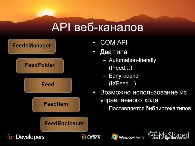 API веб-каналов COM API Два типа: –Automation-friendly (IFeed…) –Early-bound (IXFeed…) Возможно использование из управляемого кода –Поставляется библиотека типов FeedsManager Feed FeedFolder FeedItem FeedEnclosure