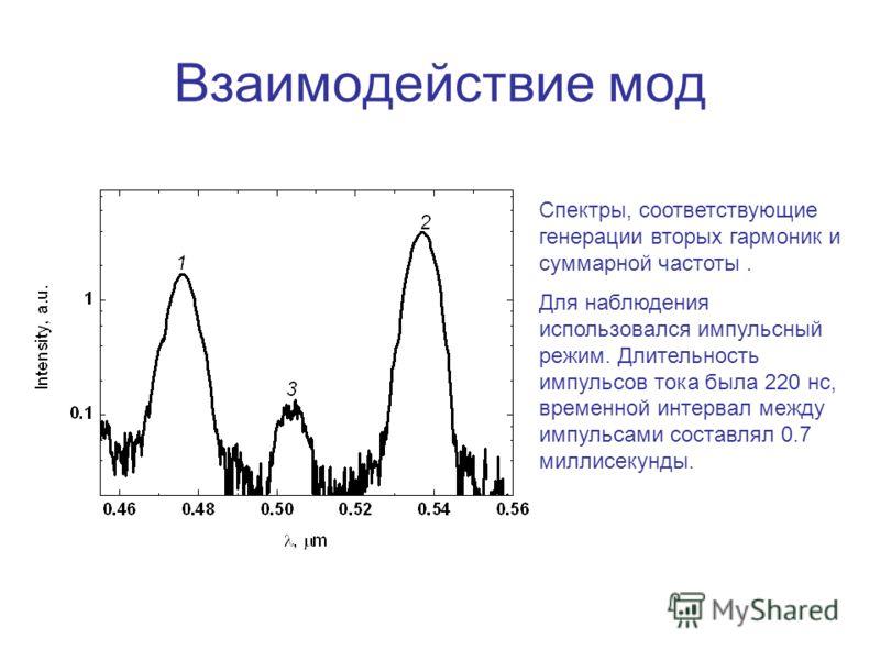 Взаимодействие мод Спектры, соответствующие генерации вторых гармоник и суммарной частоты. Для наблюдения использовался импульсный режим. Длительность импульсов тока была 220 нс, временной интервал между импульсами составлял 0.7 миллисекунды.