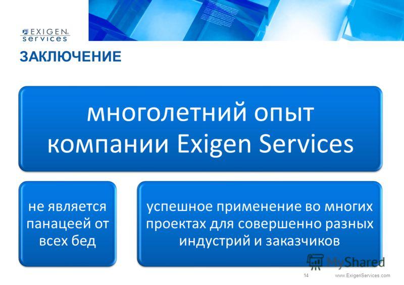 14 www.ExigenServices.com многолетний опыт компании Exigen Services не является панацеей от всех бед успешное применение во многих проектах для совершенно разных индустрий и заказчиков ЗАКЛЮЧЕНИЕ