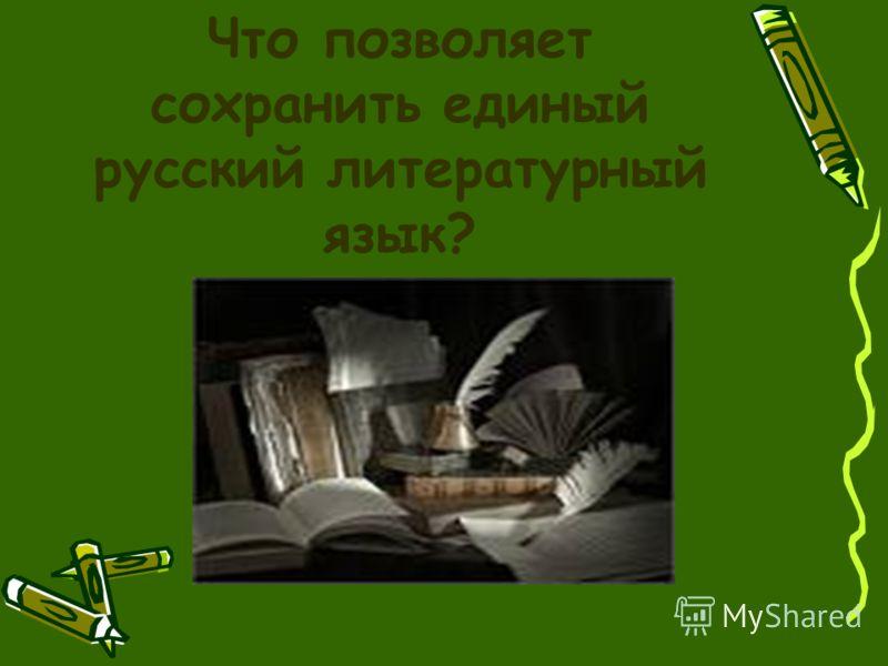 Что позволяет сохранить единый русский литературный язык?