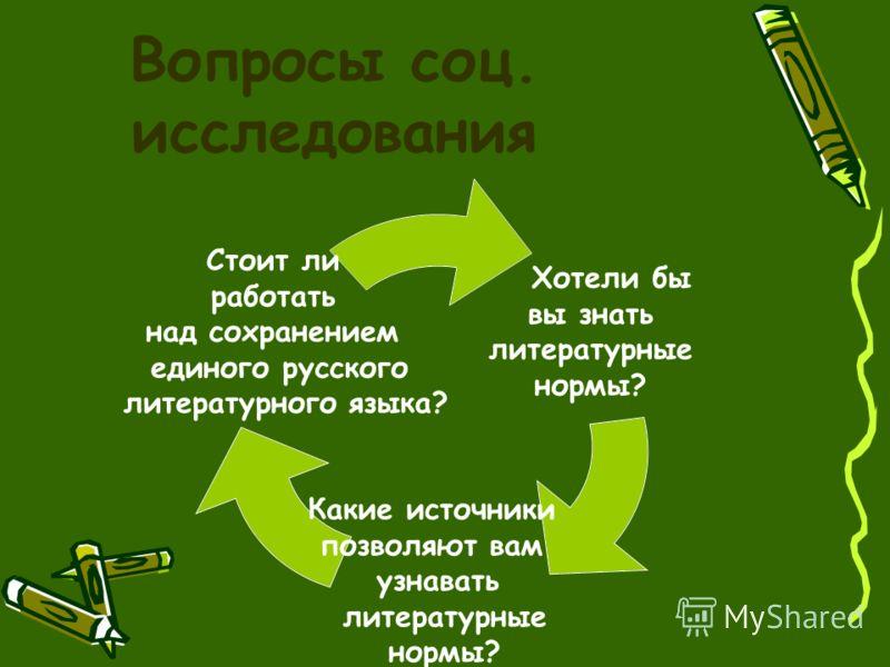 Вопросы соц. исследования Хотели бы вы знать литературные нормы? Какие источники позволяют вам узнавать литературные нормы? Стоит ли работать над сохранением единого русского литературного языка?