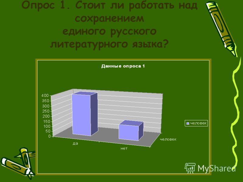Опрос 1. Стоит ли работать над сохранением единого русского литературного языка?
