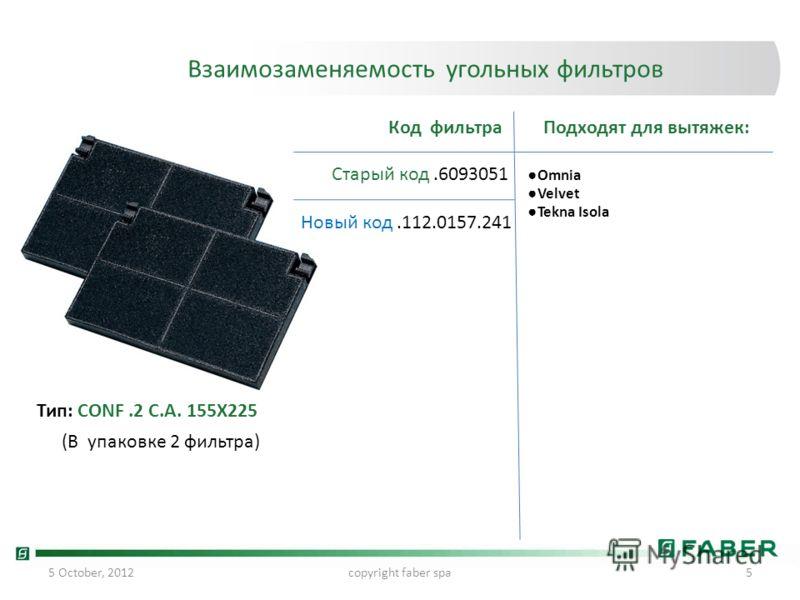 24 July, 2012copyright faber spa5 Взаимозаменяемость угольных фильтров Старый код.6093051 Новый код.112.0157.241 Код фильтраПодходят для вытяжек: Omnia Velvet Tekna Isola Тип: CONF.2 C.A. 155X225 (В упаковке 2 фильтра)