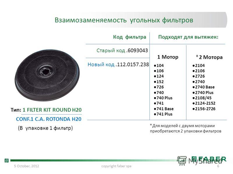 24 July, 2012copyright faber spa6 Взаимозаменяемость угольных фильтров Старый код.6093043 Новый код.112.0157.238 Код фильтраПодходят для вытяжек: 104 106 124 152 726 740 740 Plus 741 741 Base 741 Plus Тип: 1 FILTER KIT ROUND H20 CONF.1 C.A. ROTONDA H
