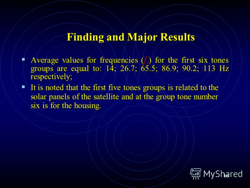 16 Finding and Major Results Average values for frequencies ( f i ) for the first six tones groups are equal to: 14; 26.7; 65.5; 86.9; 90.2; 113 Hz respectively; Average values for frequencies ( f i ) for the first six tones groups are equal to: 14;