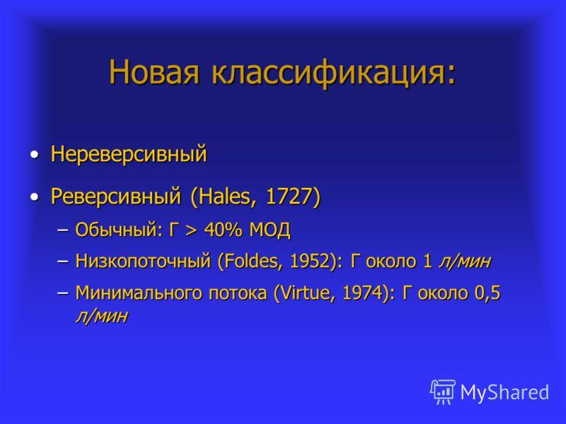 Новая классификация: НереверсивныйНереверсивный Реверсивный (Hales, 1727)Реверсивный (Hales, 1727) –Обычный: Г > 40% МОД –Низкопоточный (Foldes, 1952): Г около 1 л/мин –Минимального потока (Virtue, 1974): Г около 0,5 л/мин