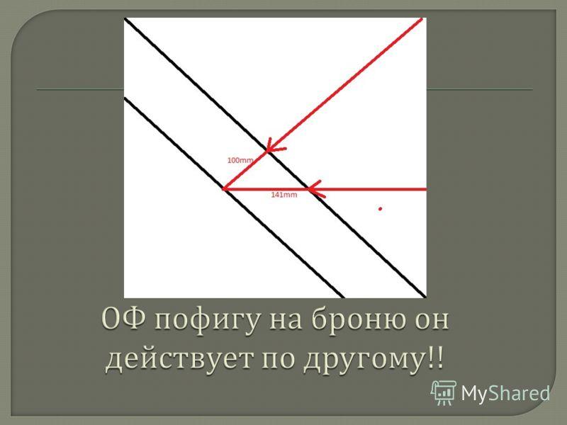 Многие не понимают физического смысла наклона брони ее в основном ассоциируют с рикошетом а наклон повышает толщину брони Многие не поняли что графически это изображается треугольниками где нужно считать длинну катетов и гипотенузы потому что это гео