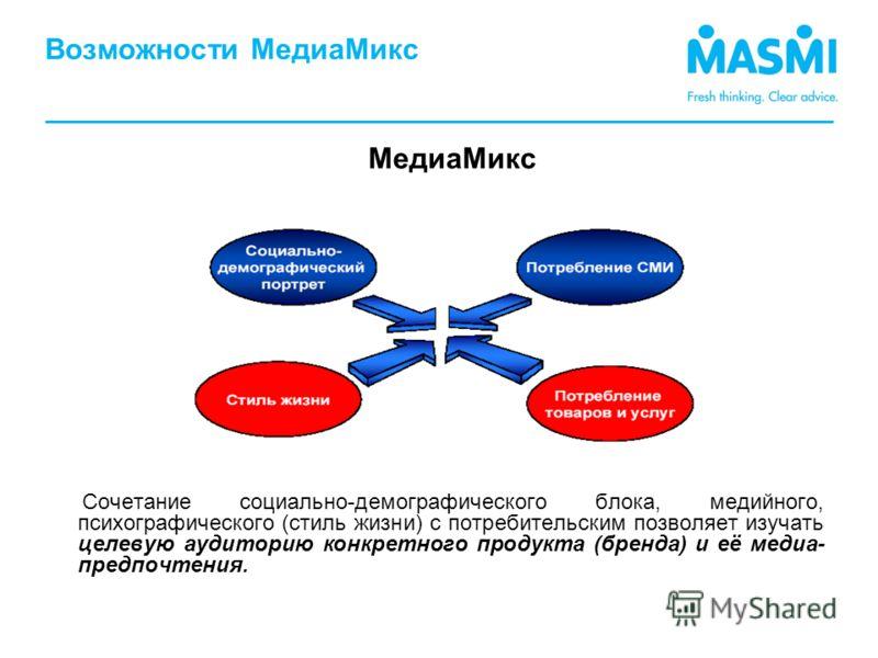 Возможности МедиаМикс Сочетание социально-демографического блока, медийного, психографического (стиль жизни) с потребительским позволяет изучать целевую аудиторию конкретного продукта (бренда) и её медиа- предпочтения. МедиаМикс