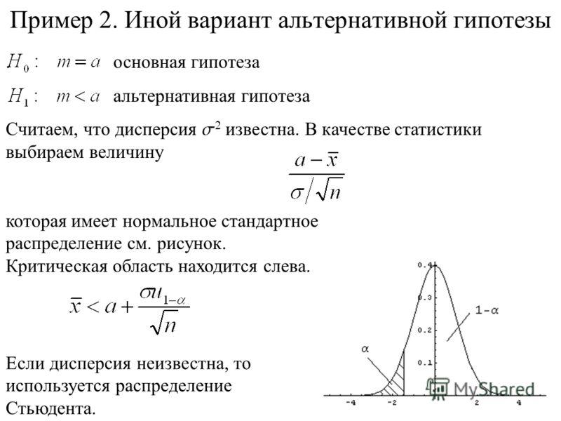 Пример 2. Иной вариант альтернативной гипотезы. основная гипотеза альтернативная гипотеза Считаем, что дисперсия s 2 известна. В качестве статистики выбираем величину которая имеет нормальное стандартное распределение см. рисунок. Критическая область