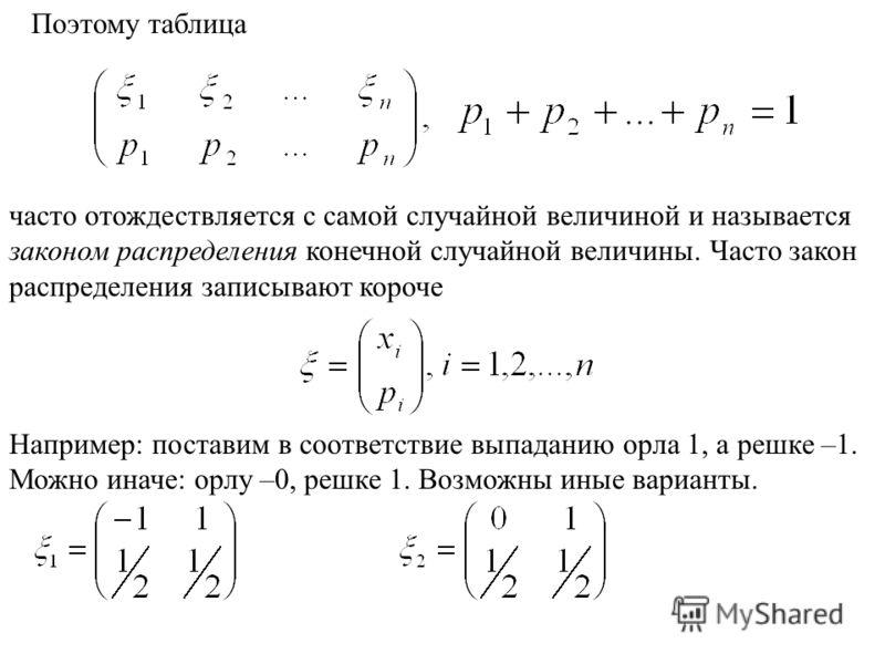 Поэтому таблица часто отождествляется с самой случайной величиной и называется законом распределения конечной случайной величины. Часто закон распределения записывают короче Например: поставим в соответствие выпаданию орла 1, а решке –1. Можно иначе: