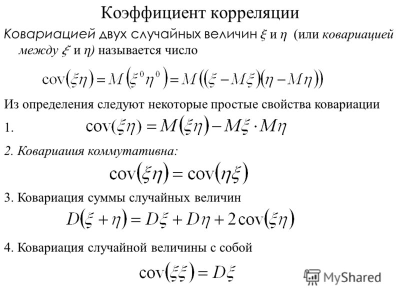 Коэффициент корреляции Ковариацией двух случайных величин x и h (или ковариацией между x и h ) называется число Из определения следуют некоторые простые свойства ковариации 2. Ковариаиия коммутативна: 1. 3. Ковариация суммы случайных величин 4. Ковар