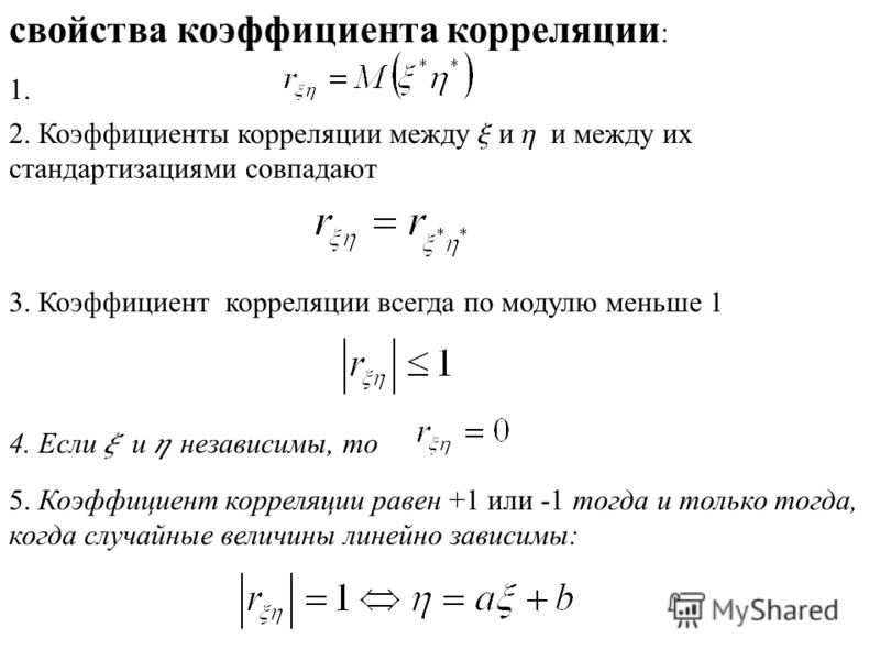 свойства коэффициента корреляции : 2. Коэффициенты корреляции между x и h и между их стандартизациями совпадают 1. 3. Коэффициент корреляции всегда по модулю меньше 1 4. Если x и h независимы, то 5. Коэффициент корреляции равен +1 или -1 тогда и толь