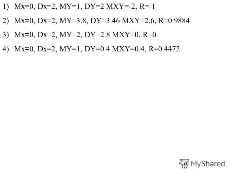 1)Mx = 0, Dx=2, MY=1, DY=2 MXY=-2, R=-1 2)Mx = 0, Dx=2, MY=3.8, DY=3.46 MXY=2.6, R=0.9884 3)Mx = 0, Dx=2, MY=2, DY=2.8 MXY=0, R=0 4)Mx = 0, Dx=2, MY=1, DY=0.4 MXY=0.4, R=0.4472