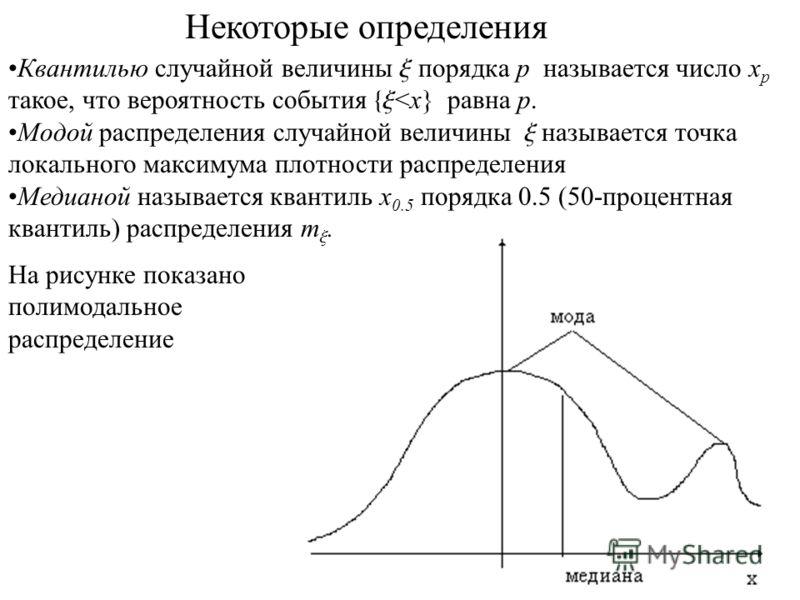 Квантилью случайной величины x порядка p называется число x p такое, что вероятность события {x