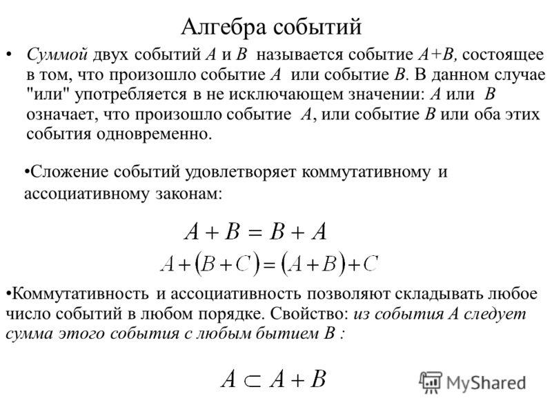 Алгебра событий Суммой двух событий A и B называется событие A+B, состоящее в том, что произошло событие A или событие B. В данном случае