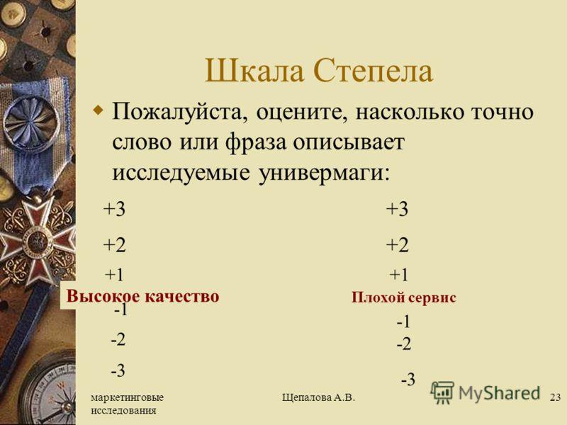 маркетинговые исследования Щепалова А.В.23 Шкала Степела Пожалуйста, оцените, насколько точно слово или фраза описывает исследуемые универмаги: +3 +3 +2 +2 +1 +1 Высокое качество -2 -3 Плохой сервис -2 -3