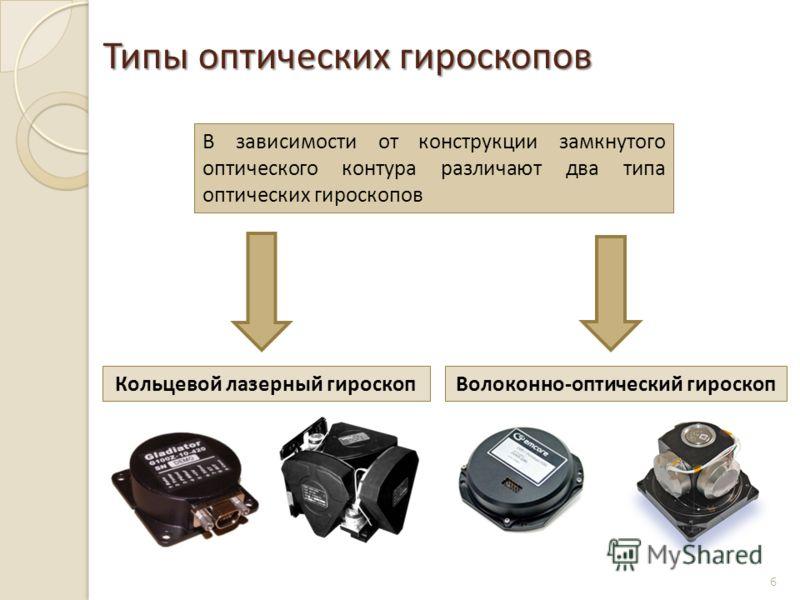 Типы оптических гироскопов 6 В зависимости от конструкции замкнутого оптического контура различают два типа оптических гироскопов Кольцевой лазерный гироскопВолоконно-оптический гироскоп
