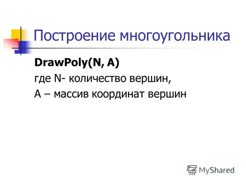 Построение многоугольника DrawPoly(N, A) где N- количество вершин, А – массив координат вершин