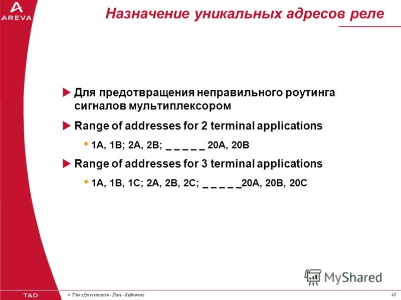 > Title of presentation - Date - References49 Назначение уникальных адресов реле Для предотвращения неправильного роутинга сигналов мультиплексором Range of addresses for 2 terminal applications 1A, 1B; 2A, 2B; _ _ _ _ _ 20A, 20B Range of addresses f