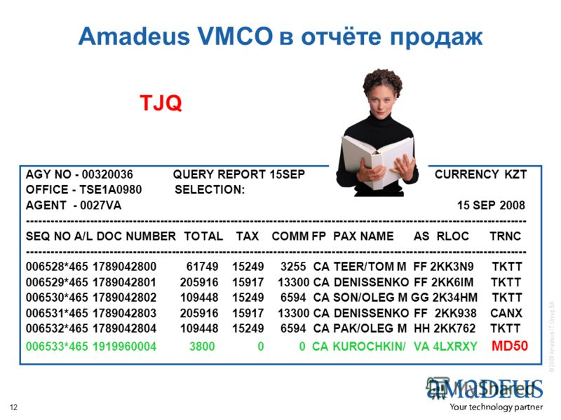 © 2008 Amadeus IT Group SA 12 Amadeus VMCO в отчёте продаж AGY NO - 00320036 QUERY REPORT 15SEP CURRENCY KZT OFFICE - TSE1A0980 SELECTION: AGENT - 0027VA 15 SEP 2008 ------------------------------------------------------------------------------------