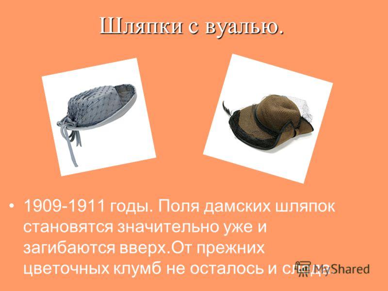 Шляпки с вуалью. 1909-1911 годы. Поля дамских шляпок становятся значительно уже и загибаются вверх.От прежних цветочных клумб не осталось и следа.