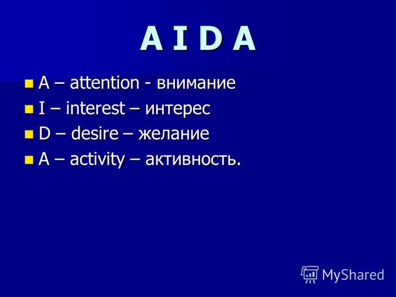 A I D A A – attention - внимание A – attention - внимание I – interest – интерес I – interest – интерес D – desire – желание D – desire – желание A – activity – активность. A – activity – активность.