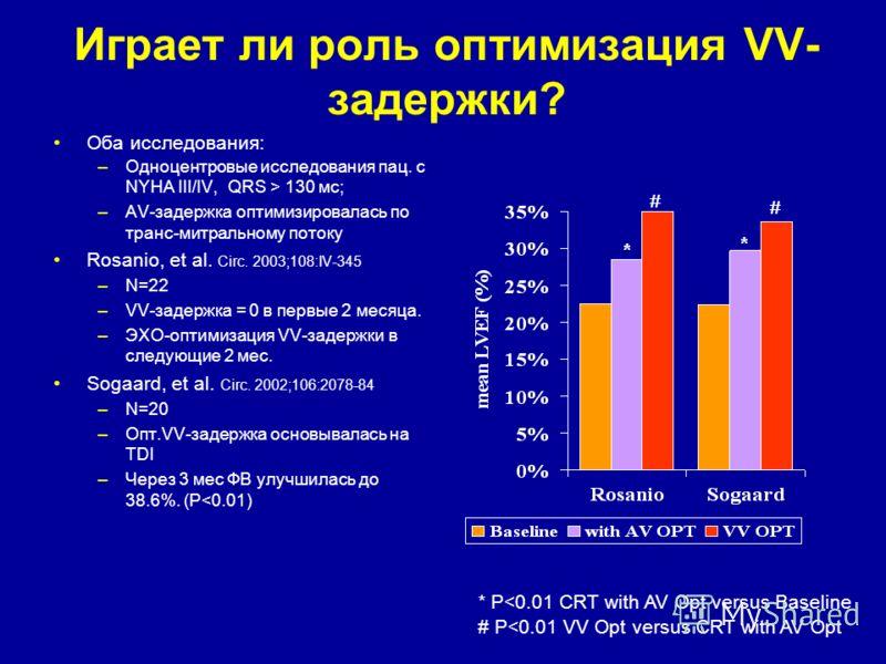 Играет ли роль оптимизация VV- задержки? Оба исследования: –Одноцентровые исследования пац. с NYHA III/IV, QRS > 130 мс; –AV-задержка оптимизировалась по транс-митральному потоку Rosanio, et al. Circ. 2003;108:IV-345 –N=22 –VV-задержка = 0 в первые 2