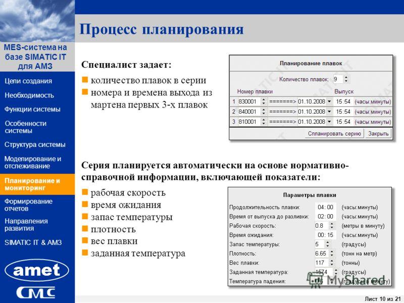 ПК «Заявки» Лист 10 из 44Лист 10 из 21 Функции системы Структура системы Цели создания MES-система на базе SIMATIC IT для АМЗ Направления развития Необходимость Особенности системы Формирование отчетов SIMATIC IT & АМЗ Моделирование и отслеживание Пл