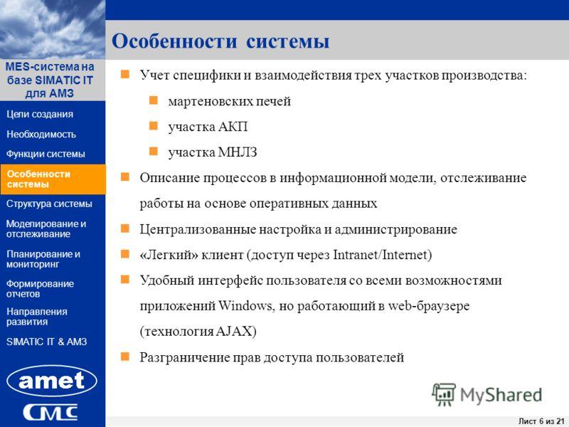 ПК «Заявки» Лист 6 из 44Лист 6 из 21 Функции системы Структура системы Цели создания MES-система на базе SIMATIC IT для АМЗ Направления развития Необходимость Особенности системы Формирование отчетов SIMATIC IT & АМЗ Моделирование и отслеживание План