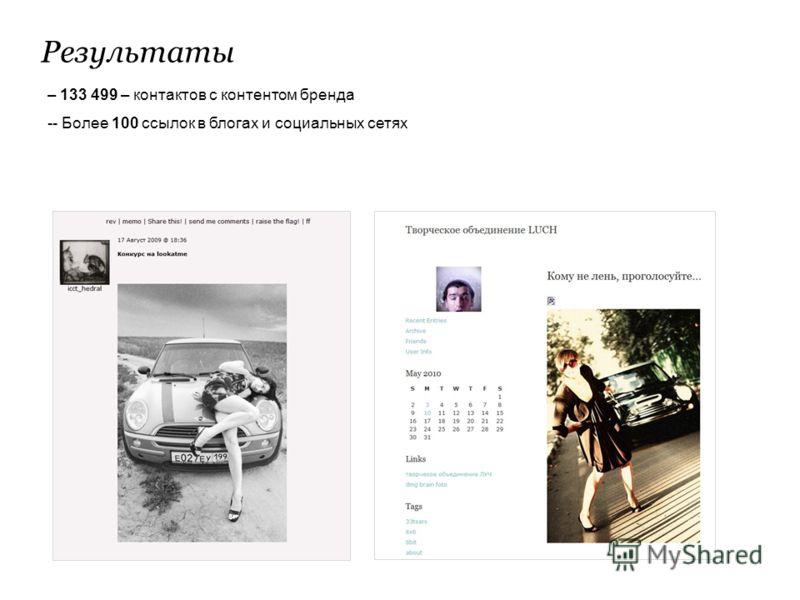 Результаты – 133 499 – контактов с контентом бренда -- Более 100 ссылок в блогах и социальных сетях