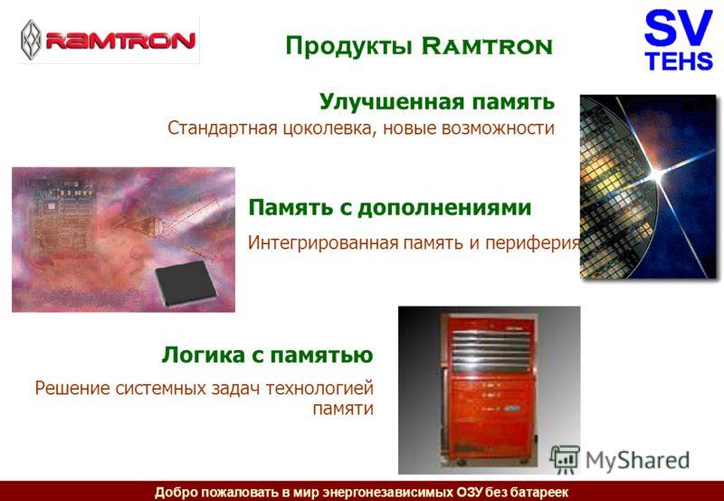 Добро пожаловать в мир энергонезависимых ОЗУ без батареек Продукты Ramtron Улучшенная память Стандартная цоколевка, новые возможности Память с дополнениями Интегрированная память и периферия Логика с памятью Решение системных задач технологией памяти