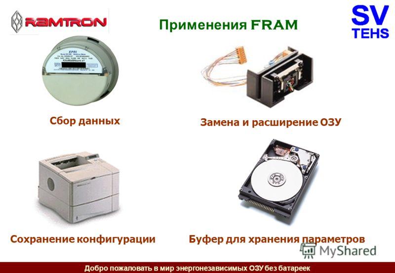 Добро пожаловать в мир энергонезависимых ОЗУ без батареек Применения FRAM Сбор данных Сохранение конфигурации Замена и расширение ОЗУ Буфер для хранения параметров